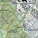 Karte: Der Pfad führt von der SZU-Station Triemli auf einer markanten Rippe direkt hoch zum Gratweg (Treppenweg). Er endet bei der Clubhütte zur Gelben Wand. Diese ist auf der Karte falsch eingezeichnet (die korrekte Stelle ist in der obigen Karte mit einem kleinen roten Kreis markiert; also ca. 80m ostsüdöstlich der entsprechenden Signatur).
