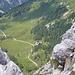Blick zur Klagenfurterhütte während des Abstiegs von der Bielschitza.