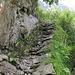 Abschnitt des Weges ab Punkt 1850 Richtung Mattalpsee. Kurz später kommt ein steiler Abschnitt mit Seil gesichert.