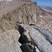 View from Mount Muir to the gentle west slopes of Mount Whitney, where the Whitney Trail leads to the summit