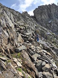 Luggen-Napoleon: Westflanke von P. 2702. Wir steigen in den Sattel links der Bildmitte hoch. Links oben wäre P. 2702.