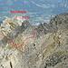Luggen-Napoleon: Blick vom Nordgrat des Haldensteiner Calanda auf die westlichen Flanken von P. 2702 und unsere ungefähre Route von der Schulter (nach dem Schuttband nach der Luggen). Foto vom Haldensteiner Calanda.