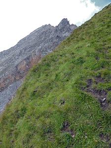 Rossfallenspitz-Napoleon: Unterhalb P. 2640, hart an der Abbruchkante ins Mittler Tal.