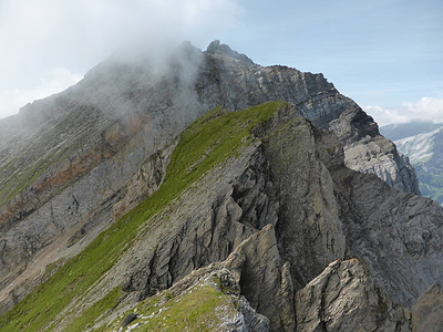 Rossfallenspitz-Napoleon: Blick zu P. 2640. Ein Gemspfad verläuft hart an der Abbruchkante ins Mittler Tal. P. 2640 wird damit nicht bestiegen.