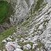 Im Hintergrund befindet sich die Scharte, im Vordergrund sind die roten Markierungen zu sehen, die durch die Nordseite der Freiheit auf das Gipfelplateau leiten. Über das Wändchen (es ist nur der oberste Teil sichtbar) auf der gegenüberliegenden Seite der Scharte erreicht man die Gipfelwiese vom Hundstein.