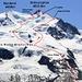 Unserer Routenverlauf auf die Dufourspitze (4633,9m): <br /> <br />Aufstieg über Westgrat (Normalweg): <br />WS+ / Fels bis II+ / Firn 40°. Westgrat sehr den Höhenwinden ausgesetzt! Heikle Spalten oberhalb Obere Plattje. <br /> <br />Abstieg Nordcouloir und Silbersattel: <br />ZS- / Fels III / Firn 40°. Deutlich leichter, da Fixseil im Couloir zum Silbersattel. Spur unten war falsch gelegt, besser oberhalb P.3827m zur Scholle (Aufstiegsroute) queren da weiter unten heikle, versteckte Spalten!