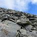typisches Gelände im oberen Teil des Gipfelanstieges
