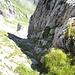 """Schafberg-Ostwand, die Route """"durch die Felsrinne""""! Zumindest der Ausstieg sieht einfach aus. Im SAC-Führer habe ich dann nachgelesen, WS! ...das wird seine Gründe haben, so dachte ich."""