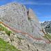 Zurück in der Furgle. Rot die Route. Grün habe ich probiert, aber wieder abgestiegen. Scheint aber zu gehen. Und Blau der Abstieg.