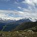 links Weissmiesgruppe - rechts Mischabel (in Wolken)