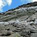 Interessant: Am Pizzo Taneda hat es verschiedenen Kalzitbänder, die von weitem gesehen wie Schneereste aussehen. Erst wenn man näher dran ist, erkennt man den Stein.