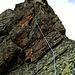 """In der 7. Seillänge 4<br /><br /><em>""""... und doch nimmt sie einem ganz in Anspruch, eine Kletterei, wie man sie sich nicht schöner wünschen kann. So dürfte es noch stundenlang gehen; doch rasch, allzu rasch kommen wir höher...""""</em>"""