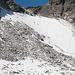 Blick auf den Gletscher vom ersten Stück der neuen Route aus