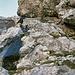 Eine Alternative zu den vielen Tritthilfen beim Abstieg von der Kreuzspitze: von unten betrachtet eine Rinne weiter rechts. <br />Wer hier hoch möchte, kann beim Aufstieg genau beim Beginn der Tritthilfen auf dem Band nach rechts queren.