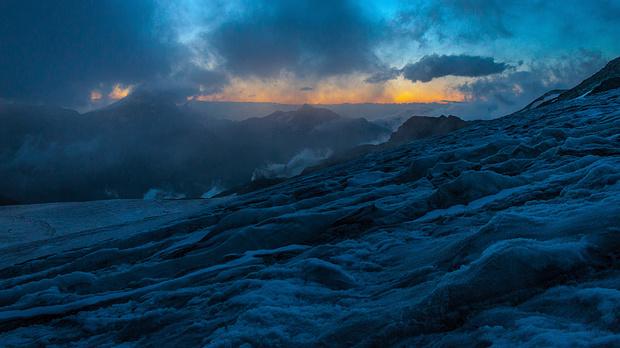 Frühmorgens auf dem Hohlaubgletscher
