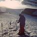 1997; mein Freund Reinhard kurz vor dem Bruneggjoch; im Hintergrund der Nordwestgrat