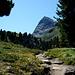 Das gesamte Bergpanorama dominiert der wuchtige Wanderdreitausender  [http://www.hikr.org/tour/post70222.html Hangerer], den ich 2013 besuchte.