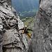 Der Fotoklassiker auf den letzten Meter - hier fällt man auch als Nachsteiger besser nicht raus bzw. rein in den Kamin...