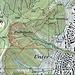 Karte: Der Leimbachpfad Süd beginnt bei der Nordwestecke des Friedhofs. In der Karte eingezeichnet ist auf einer Höhe von knapp 700m ü. M. der Abstecher in südlicher Richtung, der einen einfachen Aufstieg über die Sandsteinbank ermöglicht.