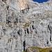 Dank der vielen Klettersteigler lässt sich der Steig gut aus der Wand ablesen. Ich habe für meinen Aufstieg allerdings das Gemschtobel vorgesehen. (Klettersteig rot angedeutet)