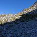 Abstieg zur Querung des Schuttfeldes