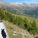 Nach diesem kleinen Wäldchen biegt der Bergweg steil ab