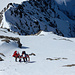 ... hoch zum Punkt, an dem der Südwestgrat und der Nollengletscher zusammenlaufen