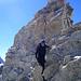 Kraxelei am Gipfelturm der Pointe de Zinal