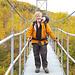 Peter auf der Brücke zu den Abiskojaurehütten<br />Peter på bro till Abiskojaurestugan