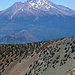"""Shasta seen from Mount Eddie, in between the small """"copy"""" of Black Butte and the secondary crater of Shastina"""