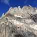 Ungefährer Routenverlauf des gebohrten Teil der Route. Von der grossen Einkerbung geht es alpin weiter.