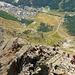 der interessante Hüttenzustieg zieht sich über den gesamten Grat bis zum oberen Diestelhorn 2806m (Erhebung hinter dem Sattel)