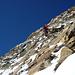 Heikel: Abklettern durch eine verschneite und brüchige Steilflanke kurz nach dem Schalihorn