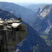"What a place to let your feet dangle! The famous ""diving board"" on Half Dome."