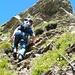 die erste gesicherte Stelle am Klettersteig