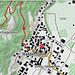 Ungefähre Fundort der Blindschleiche (roter Kreis) - auf dem Wanderweg, knapp oberhalb des Ortsausgangs von Haldenstein
