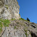 Gesicherte Passage beim Aufstieg zur Steinbockhütte