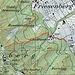 Karte: Der Claridapfad ist mit einer durchgehenden Linie eingezeichnet. Die Varianten via Linderweg im unteren Teil und via Denzlerweg im oberen Teil sind gepunktet eingetragen.