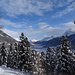 Blick in den frostigen Talgrund Richtung Zuoz