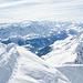 Gipfelpanorama in Richtung Airolo (etwas weniger stark im Weitwinkelformat)