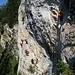 Einige Klettersteigler der Gruppe hinter uns wollen es auch versuchen! Hier ist Stau vorprogrammiert!