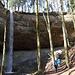 imposante Nagelfluhwände mit Wasserfall