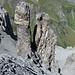 Von der Erosion verschont: Felstürme unter der Lücke 2582