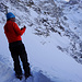 Zwischenskidepot - hier haben wir die Skier auf den Rucksack geschnallt und sind im besten Trittschnee direkt hochgestiegen.