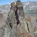 Routenverlauf einer der schwierigeren Stellen (Abstieg vom Felsturm)