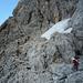 Aufstieg durch die ungesicherten Felsbänder im unteren Teil