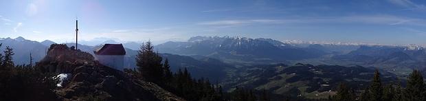 Panorama Spitzstein: Hohe Tauern, Kaisergebirge und Zillertaler