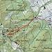 """Karte: Der Kulmpfad Süd (durchgehende Linie) ist die Direttissima von der Stadt zum """"Top of Zurich"""". Er wird - im Gegensatz zum Kulmpfad Nord (gestrichelte Linie) - nur selten begangen. Der Kulmpfad Nord ist kurz, attraktiv und - vor allem bei Nässe - heikel. Er wird im Bericht als Variante beschrieben."""
