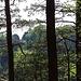 Blick vom Honigsteinrücken zum Massenauflauf an der Bastei..
