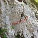 Hinweis zum Einstieg, ein paar Meter oberhalb